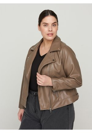 MMERLE JACKET - Faux leather jacket - brown