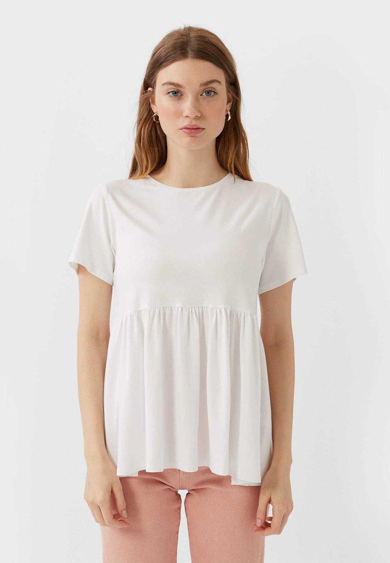 Stradivarius - BASIC-PEPLUM - T-Shirt print - white