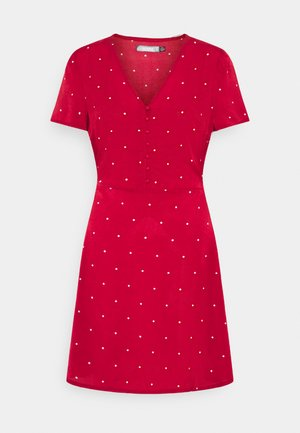 HALF BUTTON TEA DRESS  - Sukienka koszulowa - red polka