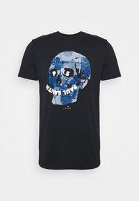 SLIM FIT FLORAL SKULL LOGO - Print T-shirt - dark blue