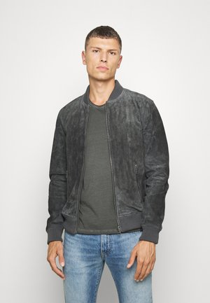 TED - Leather jacket - dark anthrazit