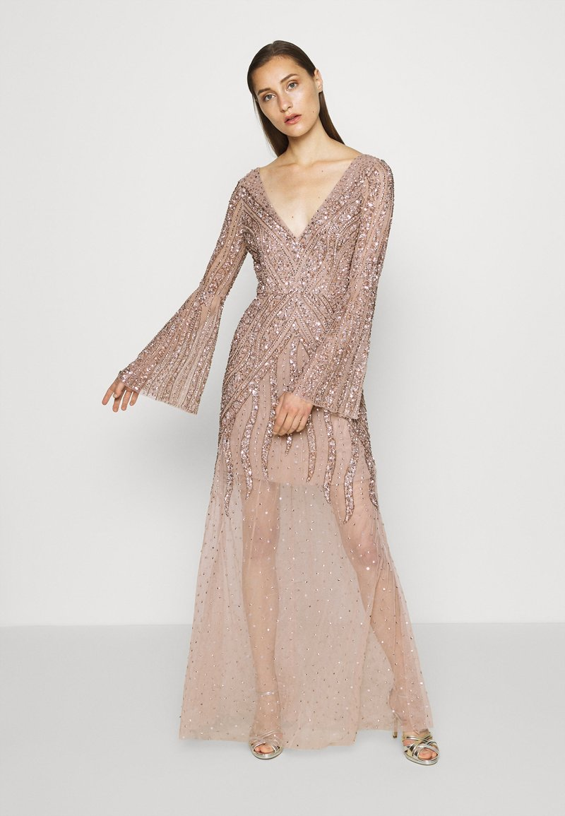 Maya Deluxe - EMBELLISHED V NECK MAXI DRESS - Ballkjole - taupe blush