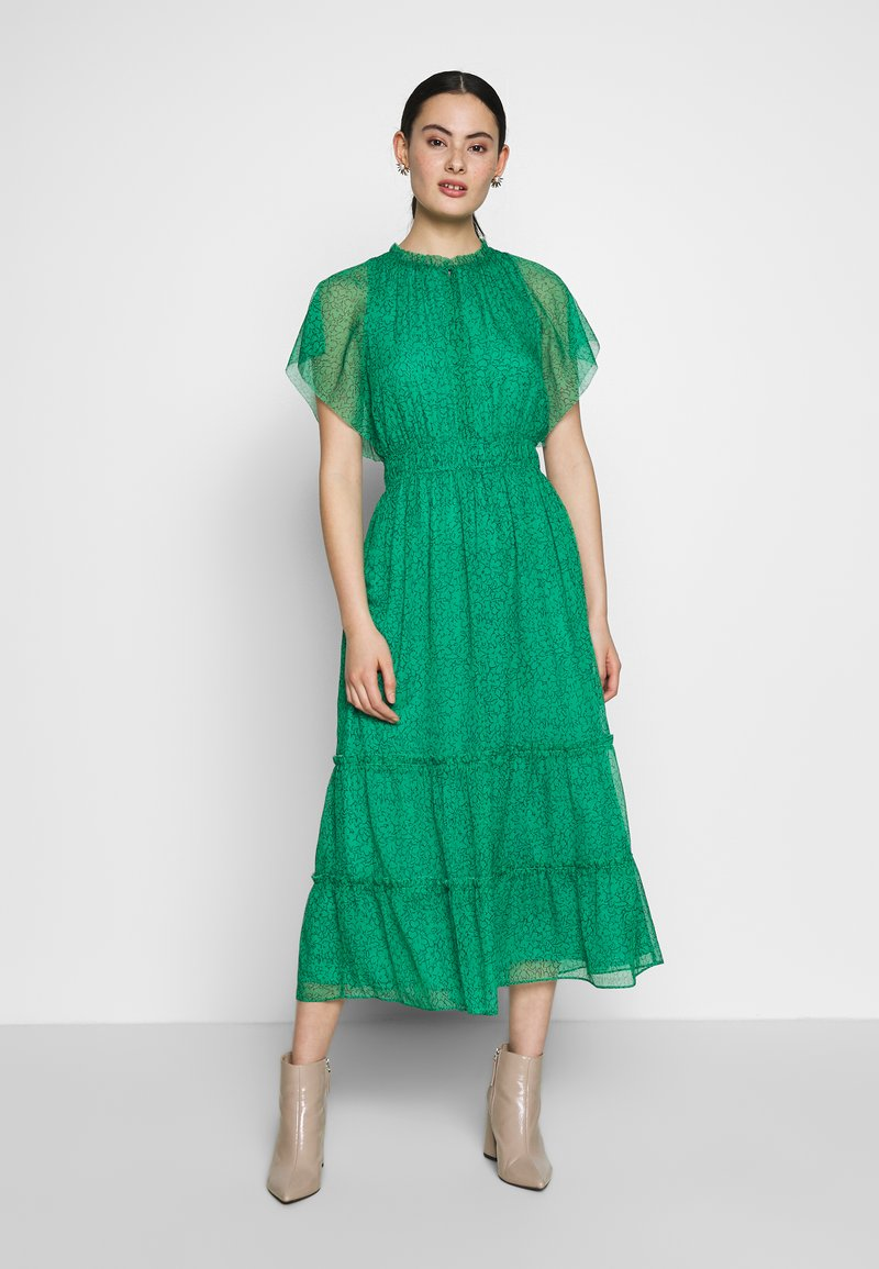 Whistles - SKETCHED FLORAL FRILL SLEEVE DRESS - Kjole - green/multi