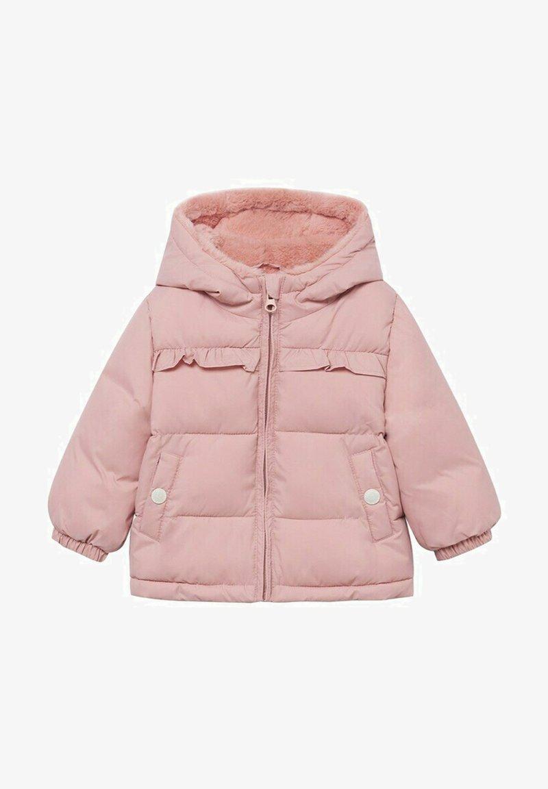Mango - GEWATTEER MET IMITATIEBONT - Winter coat - roze