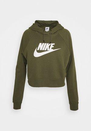 CROP - Sweatshirt - medium olive/white