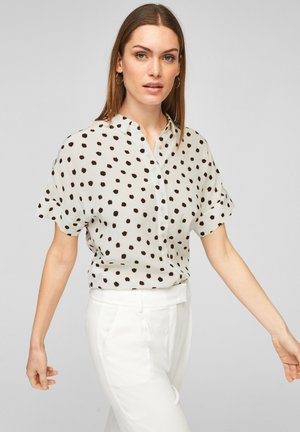 MIT ALLOVER-PRINT - Button-down blouse - off-white/black