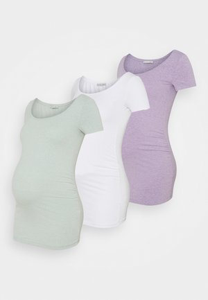 3 PACK - Camiseta básica - white/mottled light green/mottled lilac