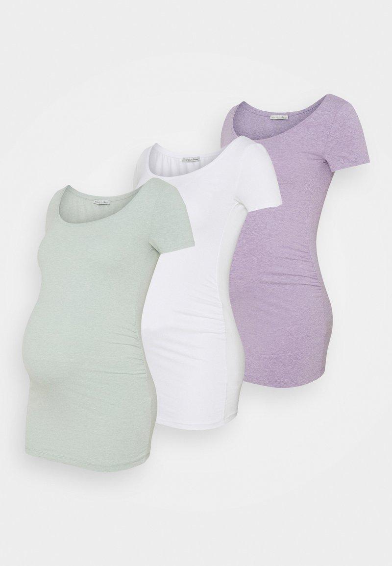 Anna Field MAMA - 3 PACK - Basic T-shirt - white/mottled light green/mottled lilac