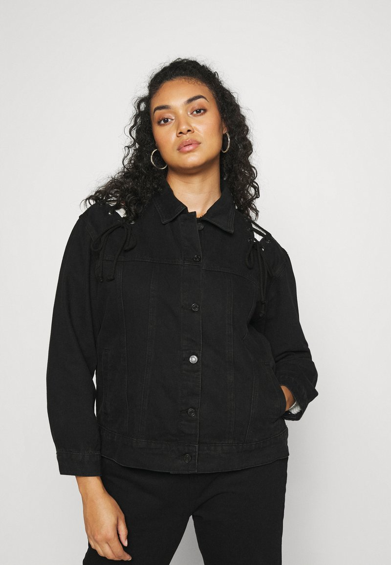 Missguided Plus - LACE UP DETAIL JACKET - Denim jacket - black