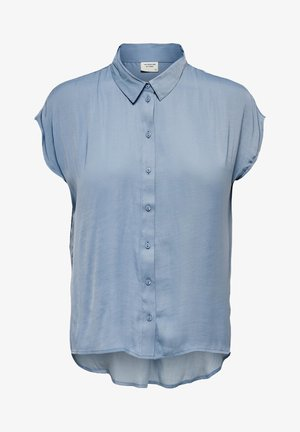SHORT SLEEVED - Button-down blouse - faded denim