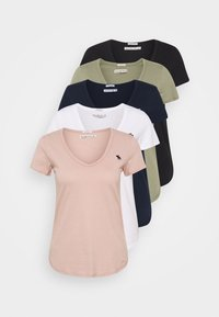 Abercrombie & Fitch - 5 PACK - T-shirts - white/black/pink/olive/navy - 0