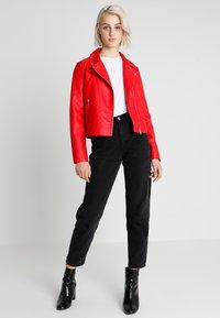 Even&Odd - Imitatieleren jas - red - 1
