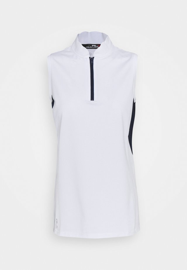 SLEEVELESS - Print T-shirt - pure white/french navy