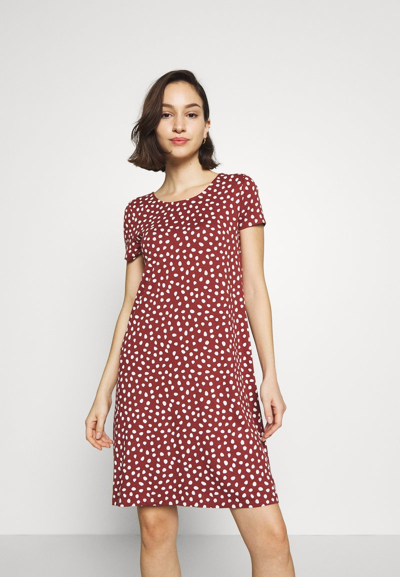 ONLY - BERA  - Jersey dress - henna/cloud dancer dots
