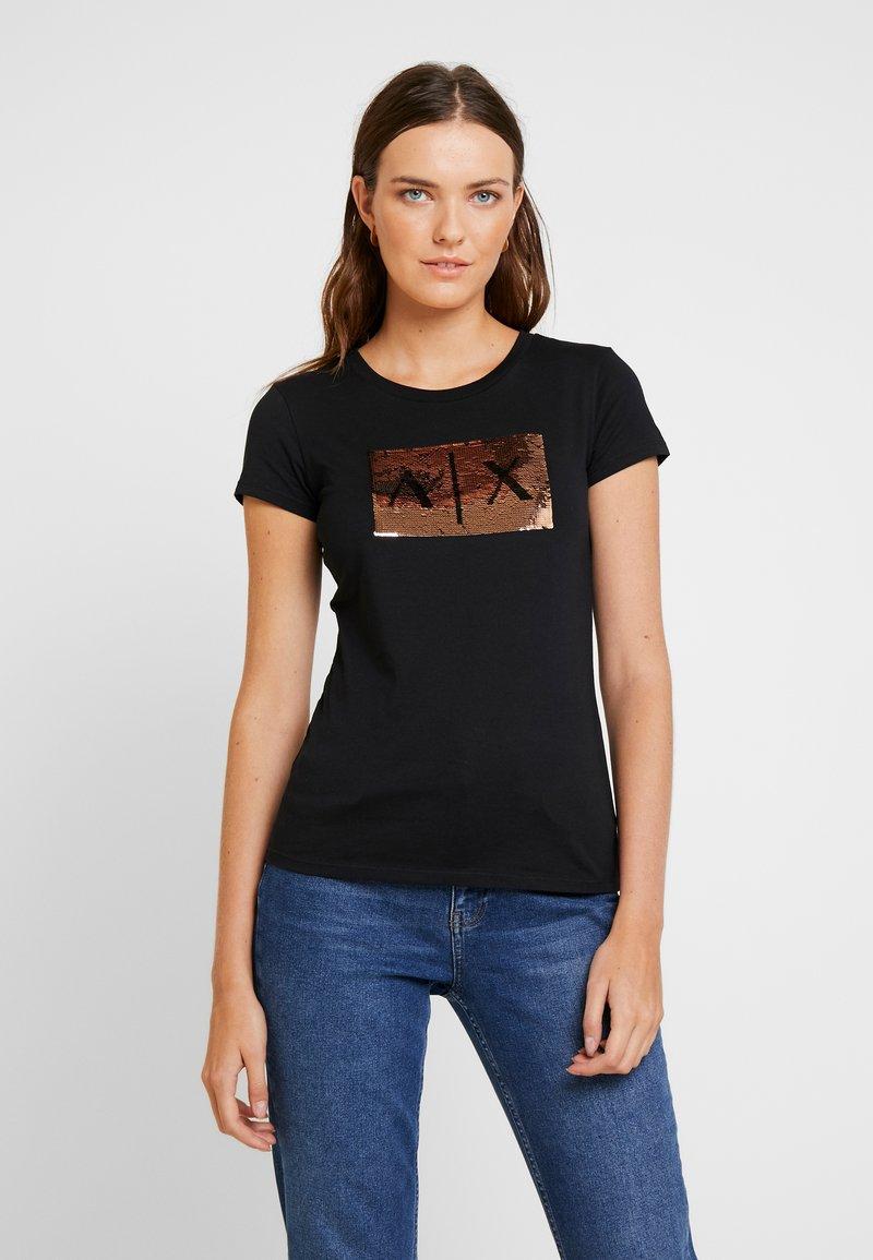 Armani Exchange - Print T-shirt - black/gold
