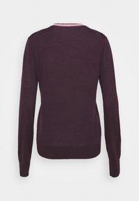 Tory Burch - COLOR BLOCK MADELINE CARDIGAN - Cardigan - festive dark purple - 6