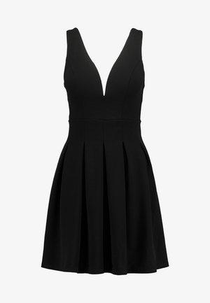 V NECK SKATER - Jersey dress - black