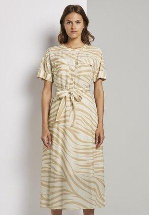 PRINT - Shirt dress - ecru zebra design