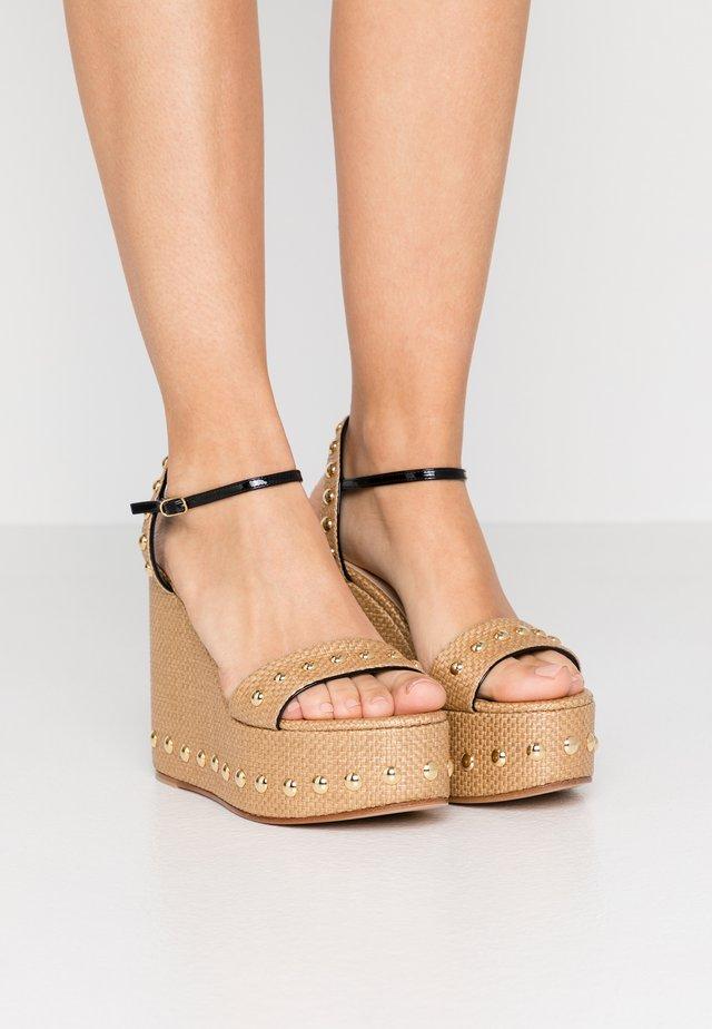 Sandalen met hoge hak - natur