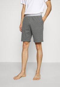 Pier One - LOUNGE HENLEY SHORTS - Pyjama bottoms - mottled dark grey - 0