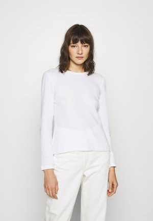 WAFFLE PIQUÉ - Long sleeved top - white