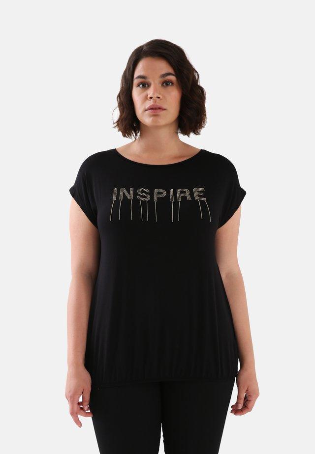 MIT SCHRIFTZUG - Print T-shirt - nero