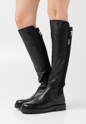 DOUBLE DETAIL LONG BOOT - Muszkieterki - black