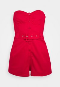 Missguided - BELTED BUTTON THROUGH BANDEAU  - Overal - red - 3