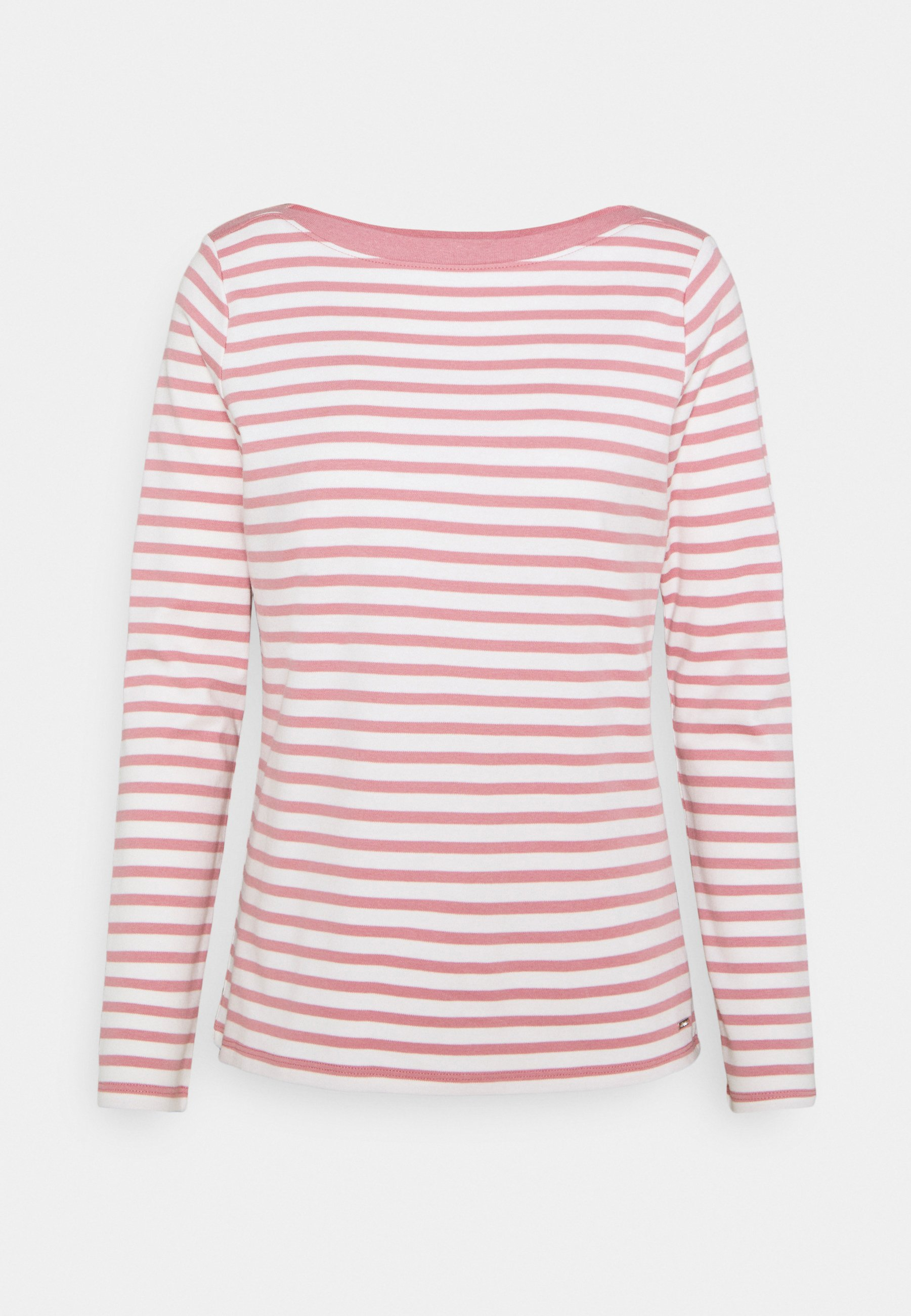 Women INTERLOCK WITH CONTRAST NECK - Long sleeved top - rose/white
