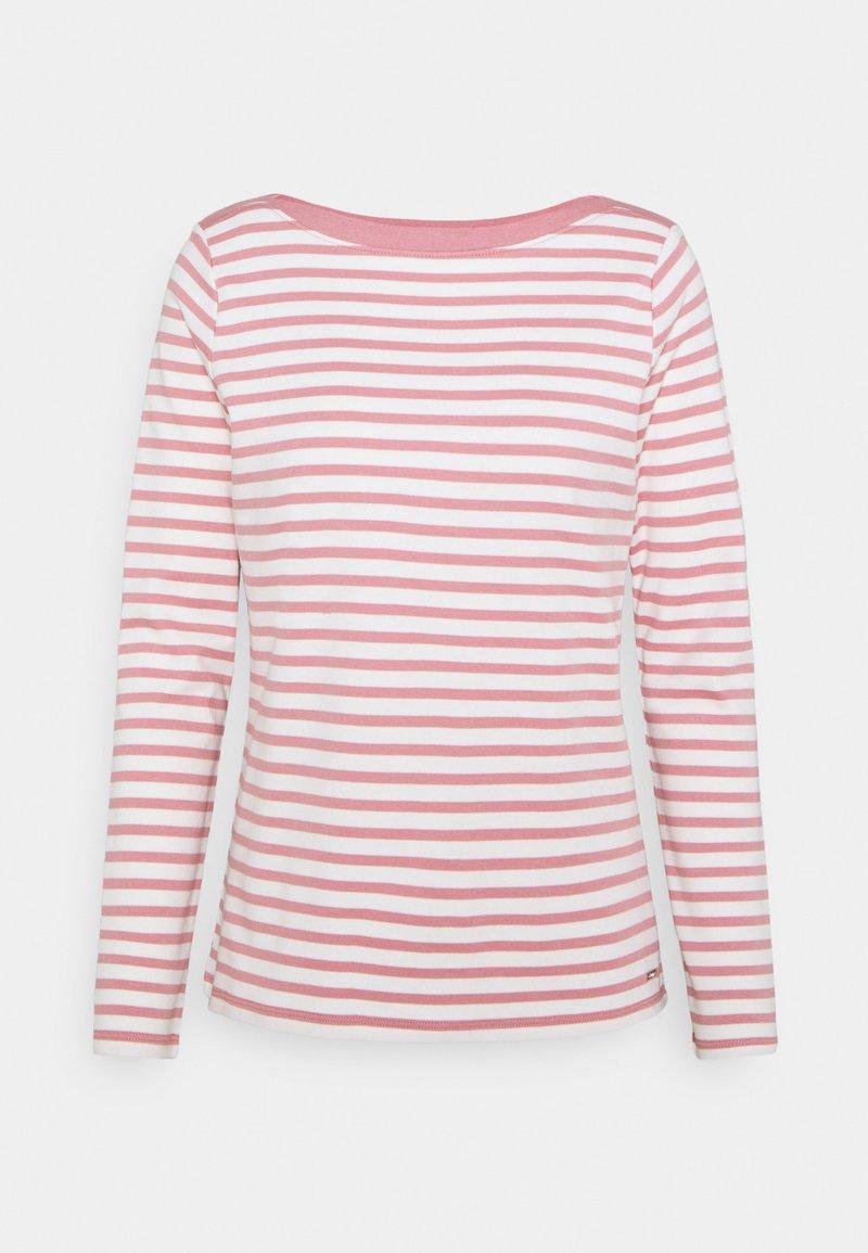 TOM TAILOR DENIM - CONTRAST NECK - Long sleeved top - rose/white