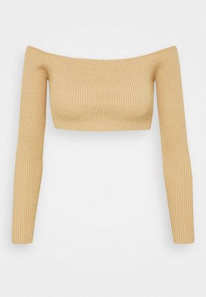 SQUARE NECK CROPPED JUMPER - Long sleeved top - mocha