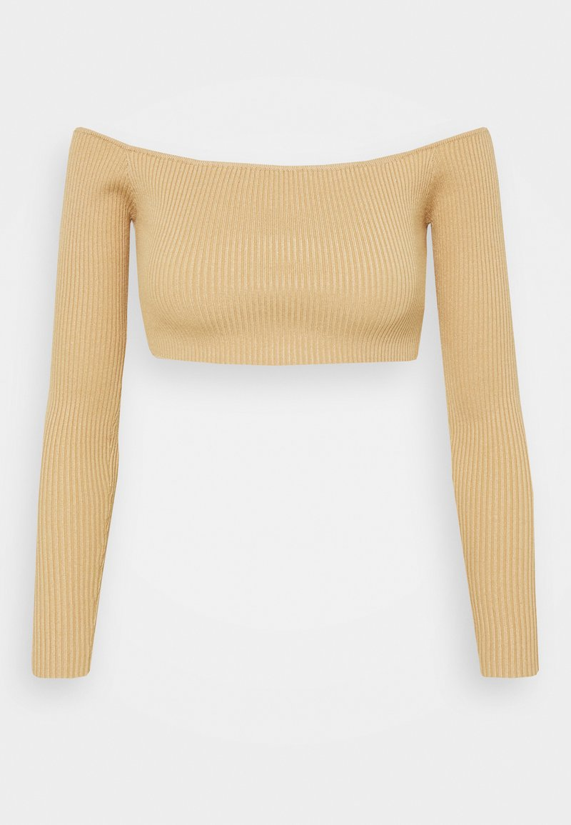 Missguided Petite - SQUARE NECK CROPPED JUMPER - Long sleeved top - mocha