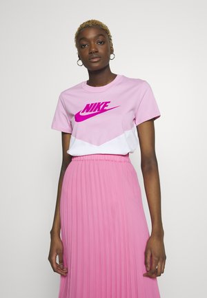 T-shirts med print - pink rise/white