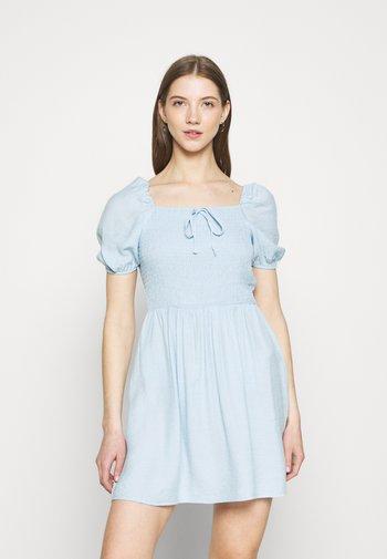 SHIRRED PUFF SLEEVE SKATER DRESS - Day dress - blue