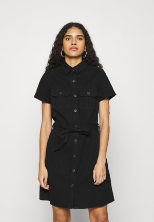 SHORT SLEEVE SEAMED SHIRT DRESS - Džinsa auduma kleita - black