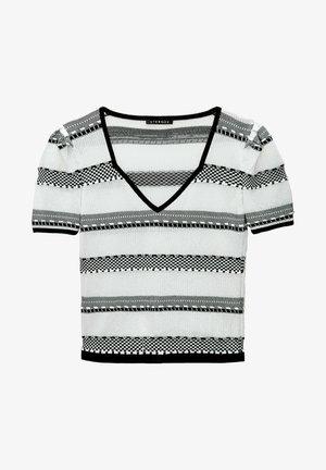 MIT GESTREIFTEM JACQUARD - Print T-shirt - black