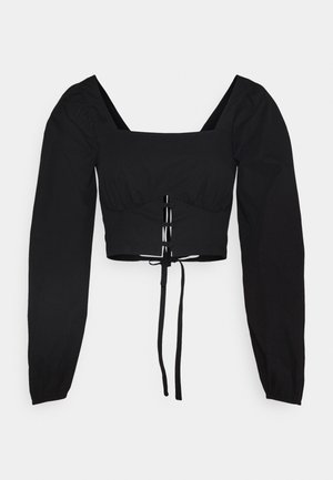 BACKLESS TIE GATHERED BUST & BUTTON - Blouse - black