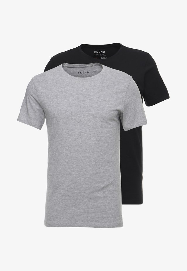 2-PACK - T-shirt basique - black/stonemix