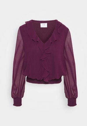SHIRRED RUFFLE - Blouse - plum