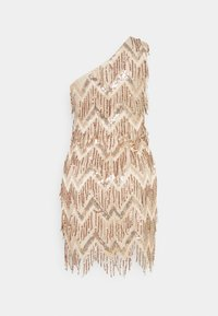 Missguided - PREMIUM PARTY ONE SHOULDER ZIG ZAG GOLD SEQUIN MINI DRESS - Cocktailkjole - champagne - 1