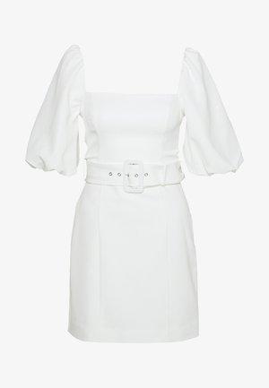 SQUARE NECK PUFF SLEEVE MINI DRESS - Denní šaty - porcelain