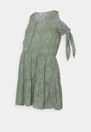 LOTTIE TIE SLEEVE DRESS - Denní šaty - khaki/white