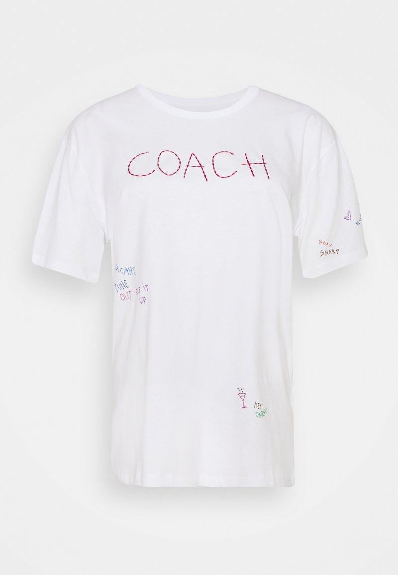Coach - HAND DRAWN COACH TEE - Print T-shirt - optic white