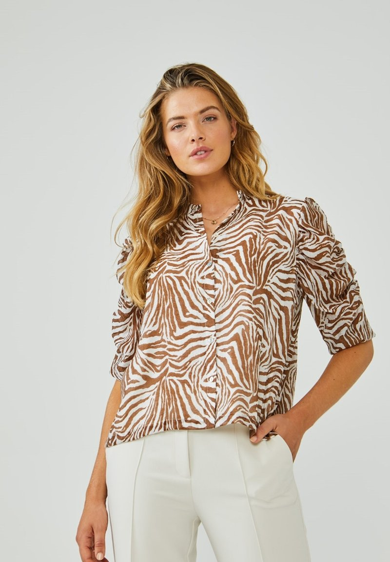 Aaiko - TACIANA ZEBRA - Button-down blouse - root brown dessin