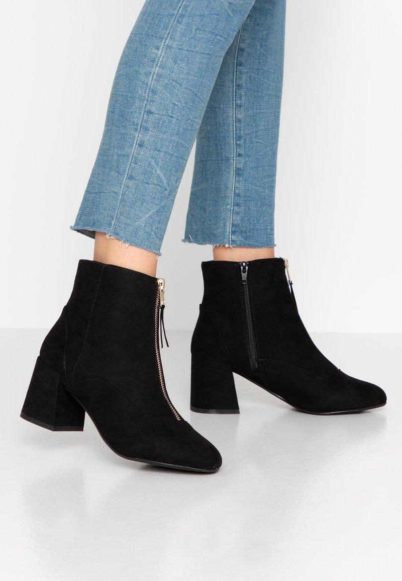 Miss Selfridge Wide Fit - WIDE FIT BELLE ZIP FRONT BLOCK HEEL - Ankle boots - black