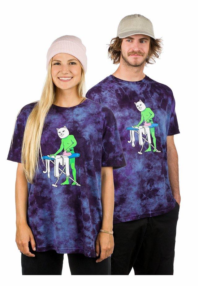 Print T-shirt - purple/blue tie dye