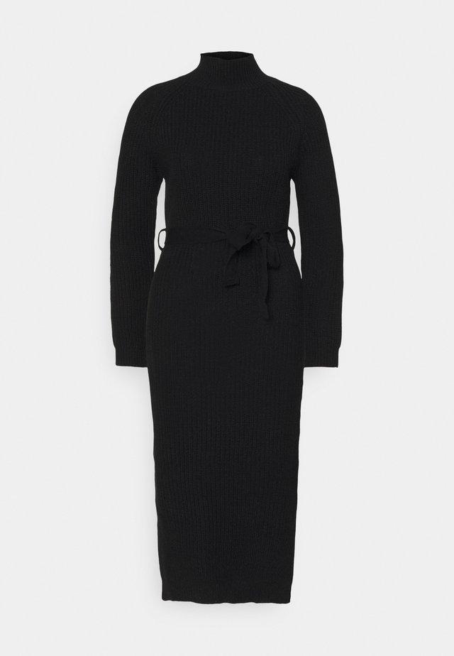 HIGH NECK BELTED MAXI DRESS - Maxi dress - black