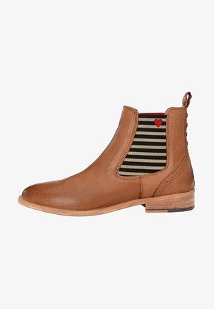 CHELSEA BOOT SUVI MIT STREIFEN UND HERZCHEN - Ankle boots - hellcognac