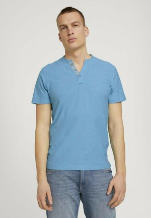 Print T-shirt - teal fine stripe