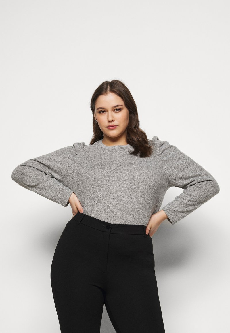 Dorothy Perkins Curve - PUFF SLEEVE - Jumper - grey marl